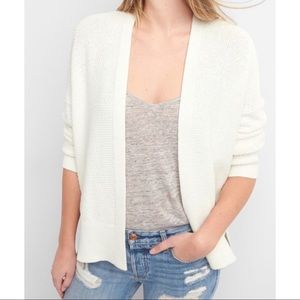 GAP GAP FOR GOOD WHITE KNIT OPEN CARDIGAN